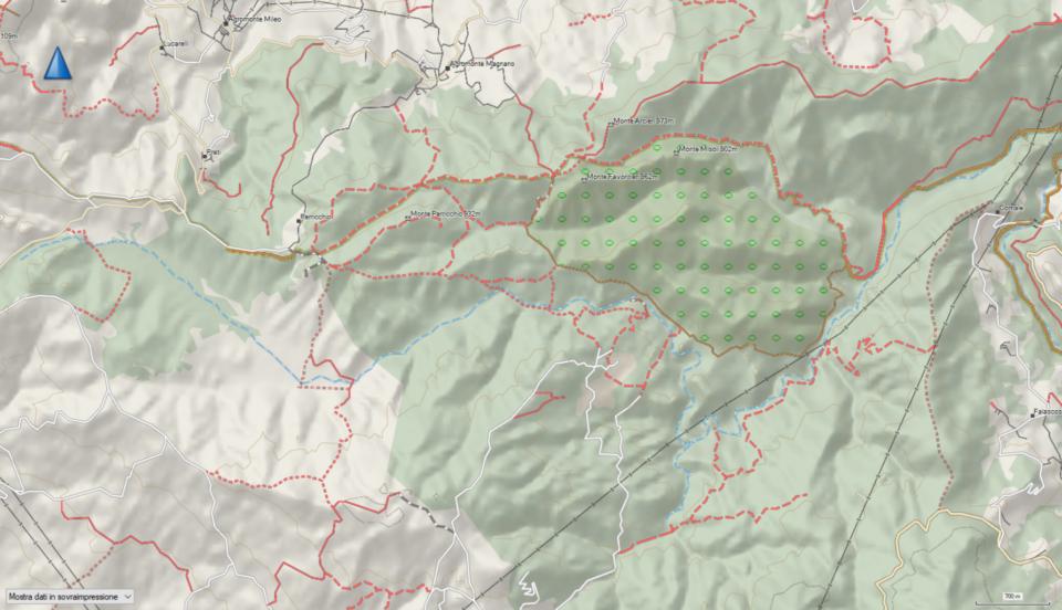 Mappa di OpenStreetMap dei sentieri di Bosco Magnano - Febbraio 2021
