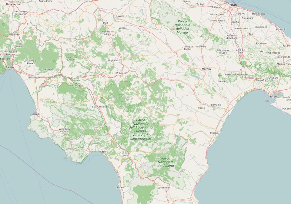 Mappa OpenStreetMap della Lucania