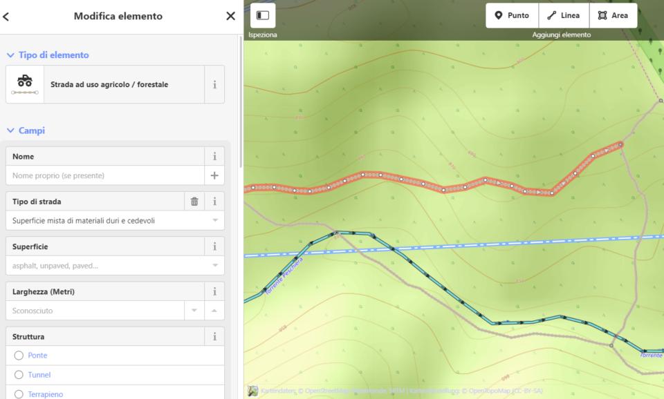 Screenshot del sito di OpenStreetMap da cui è possibile modificare la mappa
