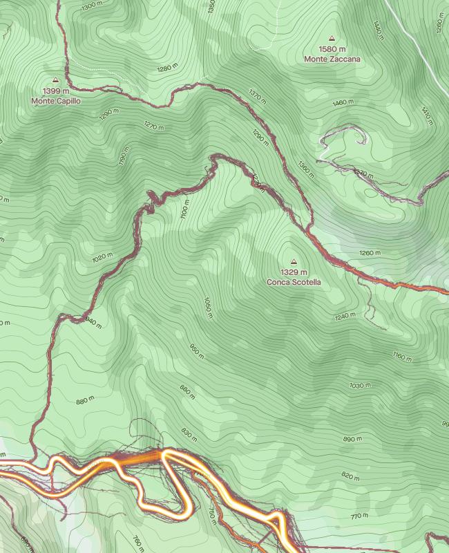 mappa monte Zaccana con heatmap di tutte le attività