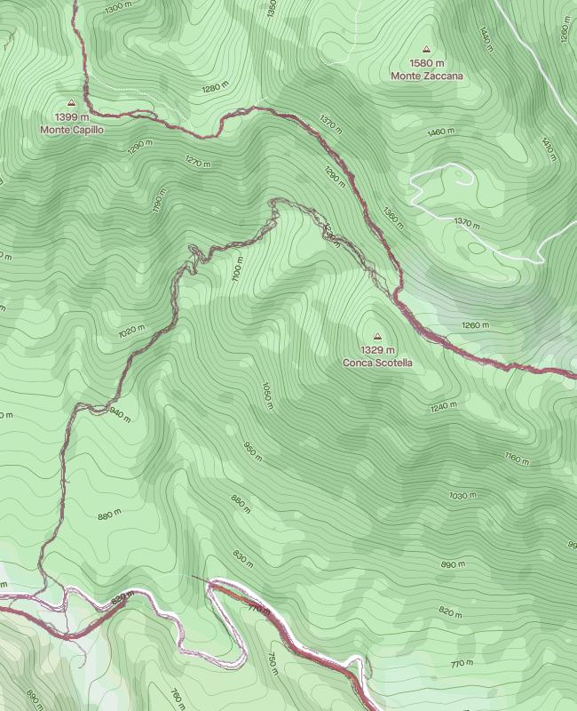 mappa monte Zaccana con heatmap generata da attività di corsa